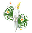 white parrot bird with plant print wallpaper vector image vector image