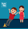 woman laughs see a man slipping with banana peel vector image