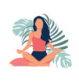 woman meditating in nature and leaves vector image