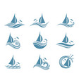 yachts and waves icons vector image vector image