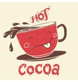 Funny cup of cocoa cartoon character vector image