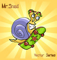 mr snail with skateboard vector image