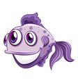 A violet fish smiling