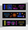 advertising neon signs horizontal banners vector image vector image