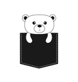 Bear in the pocket Cute cartoon contour character vector image vector image