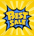 best sale banner yellow message blue star vector image
