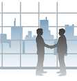 Big City business men deal handshake vector image vector image