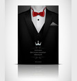 black suit and tuxedo with red bow tie vector image