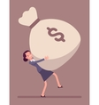 Businesswoman dragging a giant money sack vector image