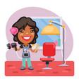 cartoon girl hairdresser vector image vector image