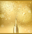 champagne bottle on a gold background vector image