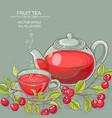 cherry tea backgrond vector image vector image