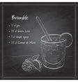Cocktail Bramble on black board vector image