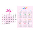 colorful planner 2019 july separately vector image vector image