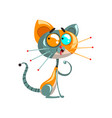 cute funny robotic cat sitting on the floor vector image vector image