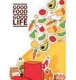 food stickers good food good vector image vector image