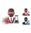 fragmented pixel halftone chemist icon vector image vector image