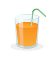 glass fresh orange juice with drinking straw vector image vector image