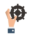 hand with industrial wheel cog gear vector image