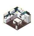 isometric 3d kitchen interior with household vector image