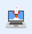 launching startup with laptop start rocket vector image