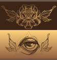 magical eye and flowers a set of elements in the vector image vector image