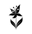 minimalist flower leaves tiny tattoo design vector image vector image