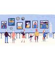 people enjoying artworks in flat cartoon style vector image vector image