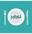 Plate with fork knife and chefs hat Restaurant vector image vector image