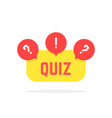 red and yellow quiz button vector image
