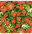 seamless red floral ornament on green background vector image vector image
