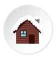 Snowy house icon flat style vector image