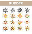 steering wheel rudder linear icons set vector image