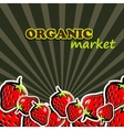 strawberries organic food concept vector image vector image