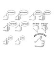 thumb up and down hand gesture set sketch vector image