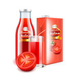 tomato juice in glass bottle and packaging 3d vector image vector image