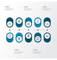 transportation icons line style set with stoplight vector image vector image