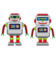 two robots with happy face vector image