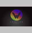 w letter logo design with colorful rainbow vector image vector image