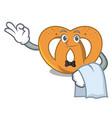 waiter pretzel mascot cartoon style vector image vector image