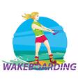 wake boarding girl rider vector image vector image