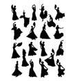women dancing flamenco silhouette vector image vector image