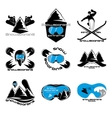 Set Snowboarding logo design template elements vector image