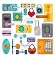Different house door lock icons set vector image