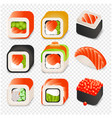 colorful japanese food cartoon style design icons vector image