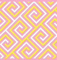 abstract pink and yellow meander seamless pattern vector image vector image