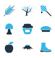 autumn icons colored set with wheat apple pie vector image vector image