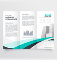 blue wavy corporate business trifold brochure vector image vector image