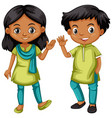boy and girl from india in green and blue outfit vector image vector image