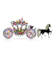 carriage floral vector image vector image